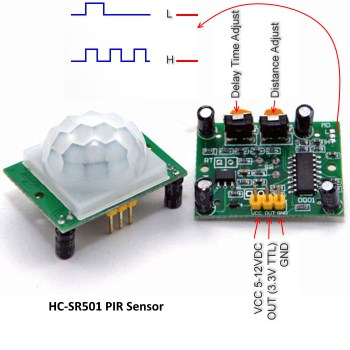 Signals and connections of the PIR sensor