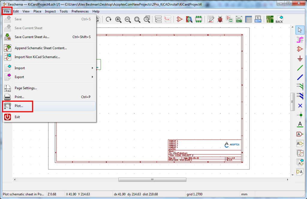 How to plot schematic to PDF, SVG, DXF, HPGL and postscript formats in KiCad v5