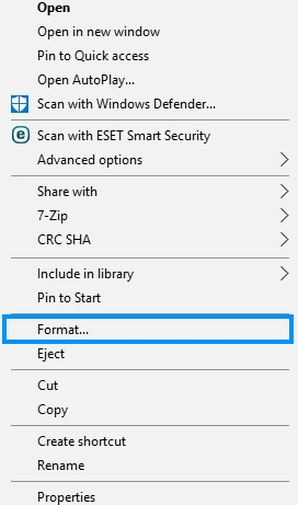 formating sd card