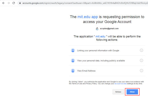 Sign in with Gmail